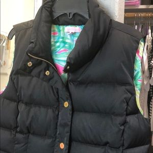 LILLY PULITZER black puffer vest size L